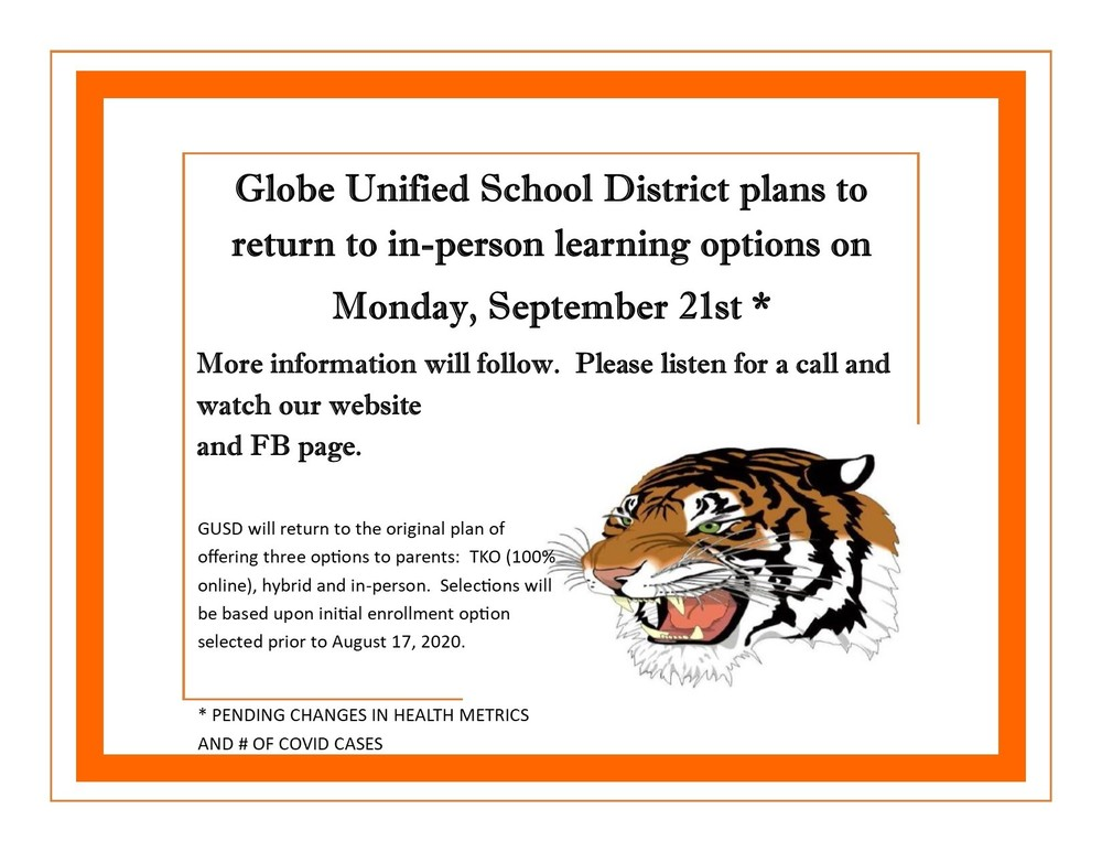 GUSD to return to in-person learning on September 21, 2020